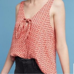 Anthropologie Maeve Verana Tie Front Pink Top